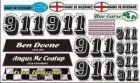 Race car1/12th Kamtec Oval name and number set